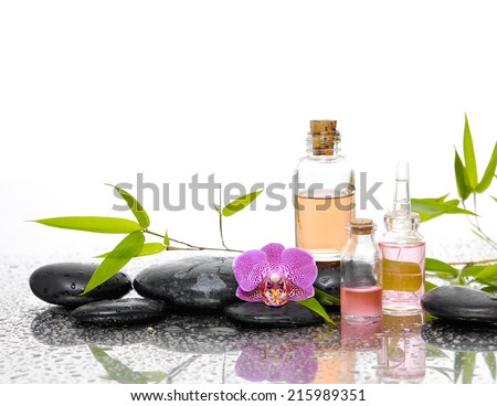Spa set and bamboo leaf  - stock photo