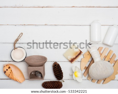 Spa set ,candle ,soap,coconut, massage with wood background (top view ,flat lay composition)