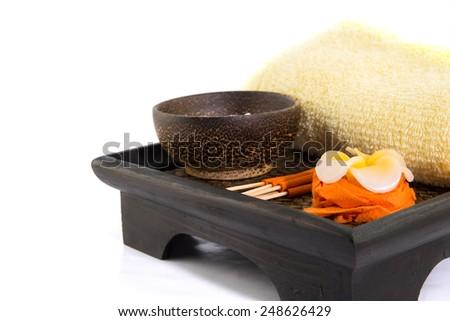 Spa Set. flower Shaped Candles, incense sticks in orange box - stock photo