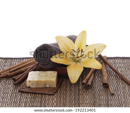 Spa set on bamboo mat - stock photo