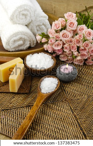 Spa set on mat background
