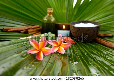 Spa set with frangipani,spa oil ,towel salt in bowl ,candle on wet palm leaf  - stock photo