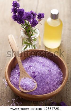 spa set with fresh lavender - stock photo
