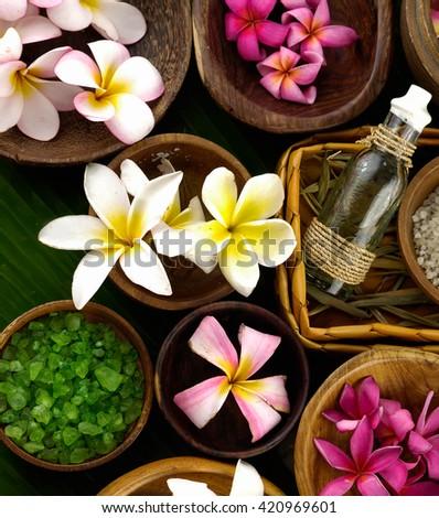 spa setting and banana leaf  - stock photo