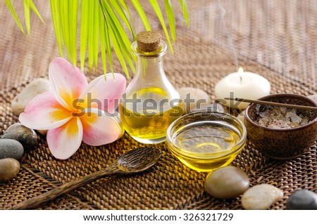 Spa setting and mat background - stock photo