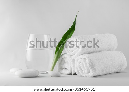 Spa setting decorated with green leave and white stone. - stock photo