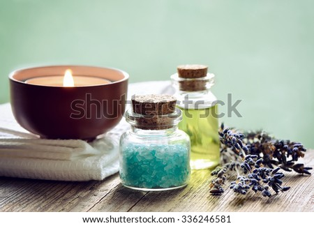 Spa setting for aroma therapy - stock photo