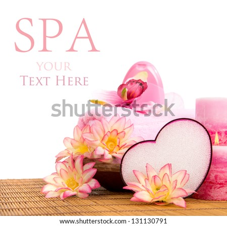 Spa setting in pink tone isolated in white - stock photo