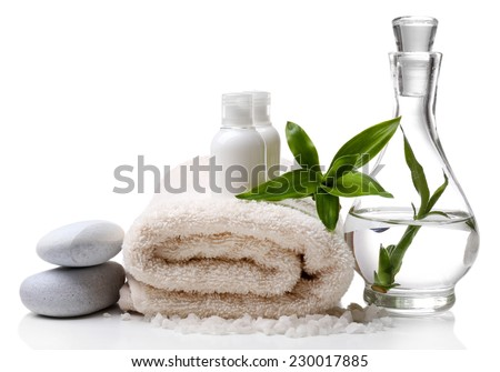 Spa setting isolated on white - stock photo
