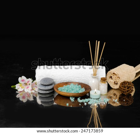 Spa setting on black background - stock photo