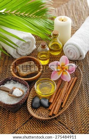 spa setting on mat - stock photo