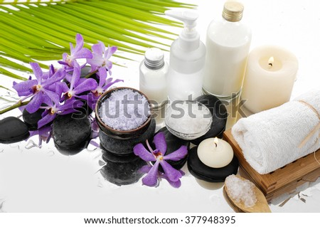 Spa setting on wet background