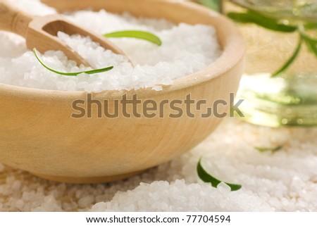 Spa setting with bath salt - stock photo