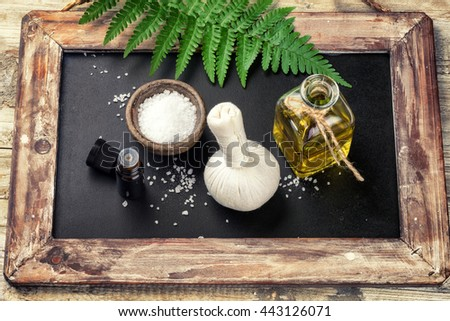 Spa setting with beauty treatment accessories. Wellness concept, top view - stock photo