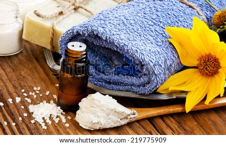 Spa Setting with Essence Oil, Natural Soap,Clay Mask, Soft Towel and Flower - stock photo