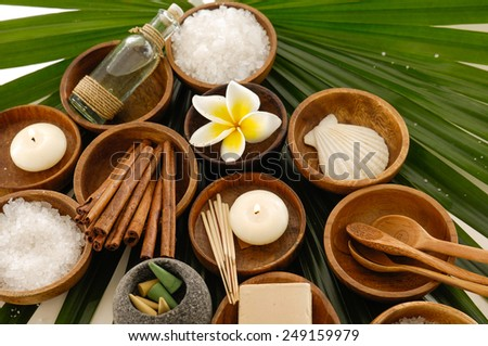 Spa setting with Green leaf background - stock photo