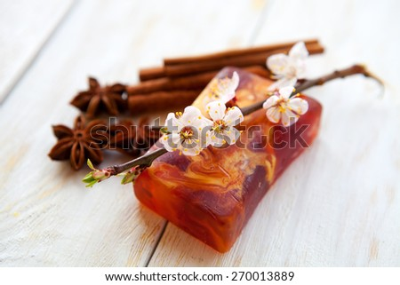 Spa setting with  handmade soap with apricot flowers. aromatherapy - stock photo