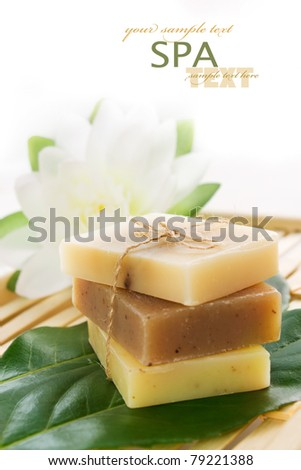 Spa setting with natural soaps.