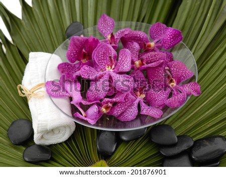 Spa setting with orchid with stones ,towel on green palm leaf - stock photo