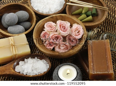 Spa Settings on straw mat - stock photo