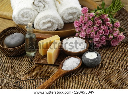 Spa Settings on straw mat - stock photo