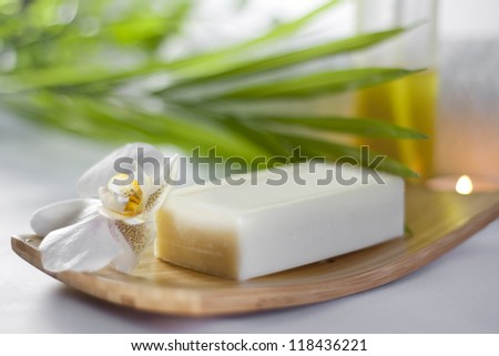 Spa soap orchids closeup on blurred background with palm - stock photo