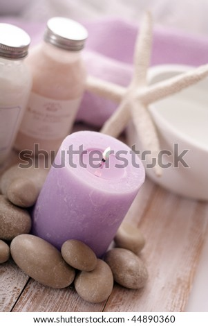 SPA still life. aromatherapy candle and bath products - stock photo