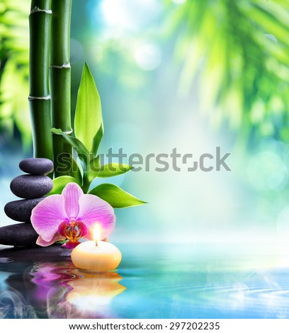 spa still life - candle and stone with bamboo in nature on water  - stock photo