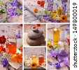 SPA still life collage with aromatherapy oils and wild flowers - stock photo