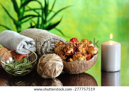 spa still life on green background - stock photo