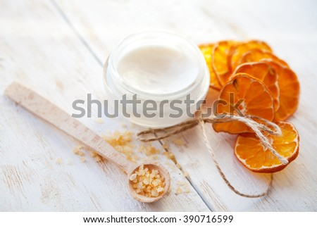 Spa still life on  white wooden surface