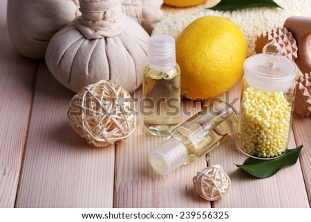 Spa still life on wooden planks background - stock photo