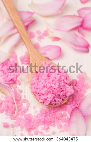 Spa still life , sald pink spa - stock photo