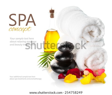 Spa still life Spa still life with stones isolated on white background - stock photo