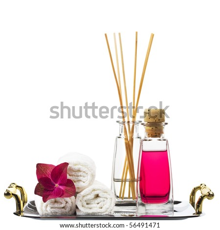 Spa still life with bottles of herbal essenses. Space for text. - stock photo