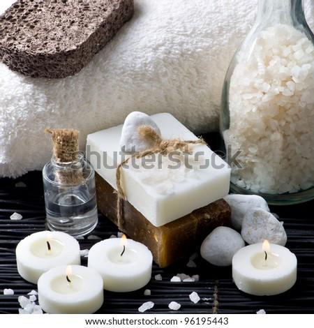 Spa still life with handmade soap - stock photo