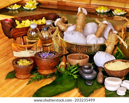 Spa still life with leaf and massage stone. - stock photo