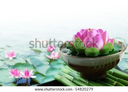 Spa still life with lotus for body treatment - stock photo