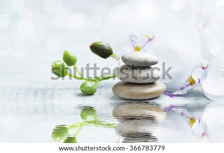 Spa still life with massage stones,white orchid on water reflection - stock photo