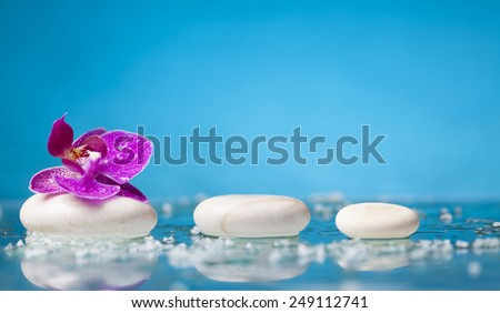 Spa still life with pink orchid and white zen stone - stock photo