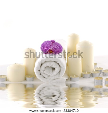 Spa still life with reflection - stock photo