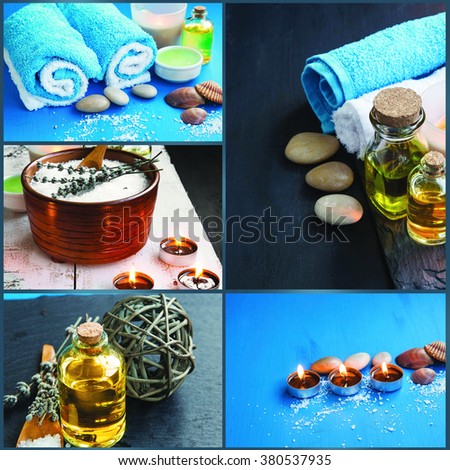 Spa still life with sea salt and lavender,towels ,scent candles and bath oil - stock photo