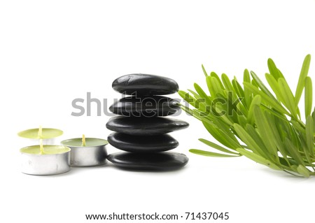 Spa Still life with tower and orchid with candle and stacked stone - stock photo
