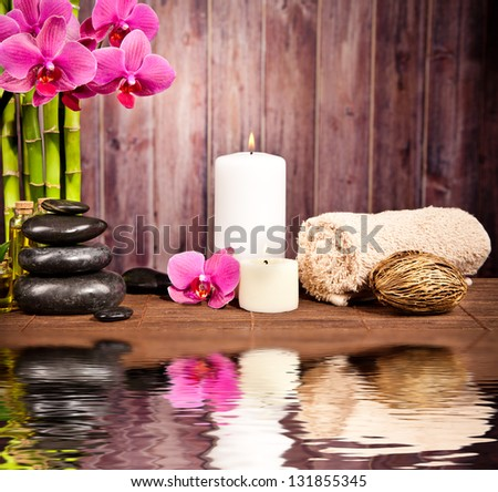 Spa still life with water reflection - stock photo