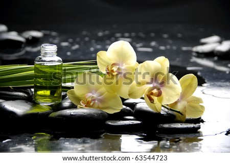 Spa still life with yellow orchid and stone reflection - stock photo