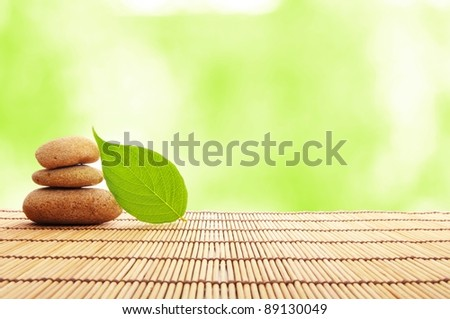 spa still life with zen stone and green leaf - stock photo