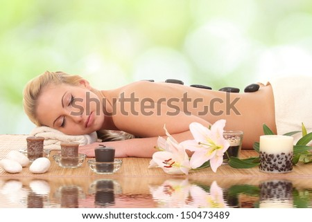 Spa Stone Massage - stock photo