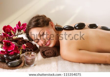 Spa Stone Massage. Day-Spa Treatment - stock photo
