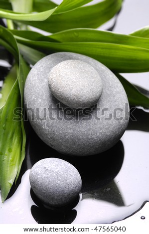 Spa stones and bamboo leaves - stock photo