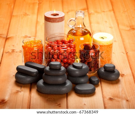Spa stones and bath salt - stock photo